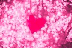 De dagachtergrond van glanzend hart bokeh licht Valentine royalty-vrije stock afbeelding