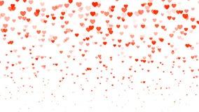 De dagachtergrond van hart halftone Valentine ` s Rode transparante harten op wit Vector illustratie Stock Foto's