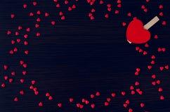 De dagachtergrond van valentijnskaarten met harten Stock Foto