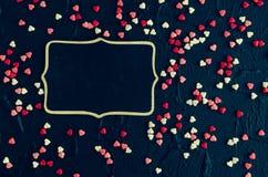 De dagachtergrond van valentijnskaarten met harten Royalty-vrije Stock Foto's