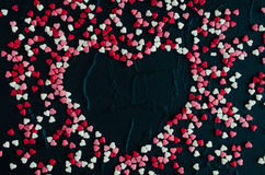 De dagachtergrond van valentijnskaarten met harten Stock Foto's