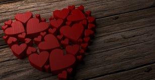 De dagachtergrond van valentijnskaarten met harten het 3d teruggeven royalty-vrije stock afbeeldingen