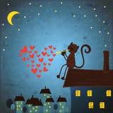 De dagachtergrond van valentijnskaarten met kat en hart Stock Foto