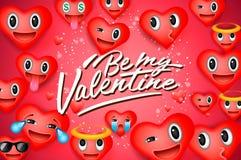 De dagachtergrond van Valentine met hart emoticons, emojilachebekjes, vectorillustratie Behang, vliegers, kaart stock illustratie