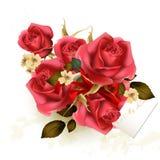 De Dagachtergrond van Valentine met luxeboeket van rozen Stock Afbeelding
