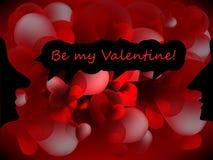 De Dagachtergrond van Valentine met silhouet Royalty-vrije Stock Foto