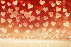 De dagachtergrond van Valentine ` s, harten op geschitterde achtergrond Royalty-vrije Stock Foto's