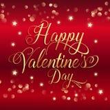 De dagachtergrond van Valentine ` s met gouden sterren en decoratieve teksten Royalty-vrije Stock Foto's