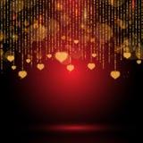 De dagachtergrond van Valentine ` s met het hangen van harten Stock Foto