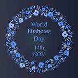 De dagachtergrond van de werelddiabetes met rond handpictogram Royalty-vrije Stock Foto's
