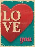 De dagaffiche van de valentijnskaart Retro uitstekend ontwerp Liefde u Royalty-vrije Stock Foto