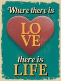 De dagaffiche van de valentijnskaart Retro uitstekend ontwerp Waar Er Lov zijn Stock Foto