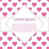 De Dagaffiche van Valentine ` s met ruitkader typografie Royalty-vrije Stock Afbeeldingen