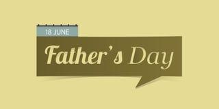 18 de Dagbanner van Juni Father's op gele achtergrond wordt geïsoleerd die Royalty-vrije Stock Afbeelding
