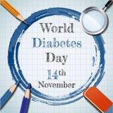 De dagbanner van de werelddiabetes met potlood en kleurpotloodconcept Royalty-vrije Stock Foto