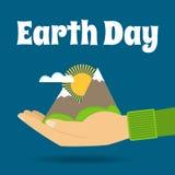 De dagconcept van de aarde Aard in menselijke handen Stock Afbeeldingen
