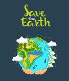 De dagconcept van de aarde Menselijke handen die drijvende bol in ruimte houden Sparen onze planeet Vlakke stijl vectorillustrati Stock Afbeeldingen
