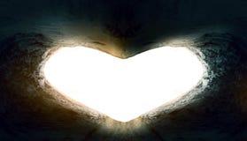 De Dagconcept van het wereldhart: Hart-vormig leeg graf van Jesus Christ stock afbeeldingen