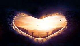 De Dagconcept van het wereldhart: Hart-vormig leeg graf van Jesus Christ stock foto's