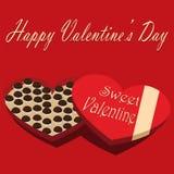 De Dagdoos van Valentine zoete de valentijnskaart rode achtergrond van het chocoladesuikergoed Stock Afbeeldingen