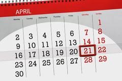 De dagelijkse bedrijfskalenderpagina 2018 April 21 Royalty-vrije Stock Foto's
