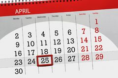 De dagelijkse bedrijfskalenderpagina 2018 April 25 Stock Afbeelding