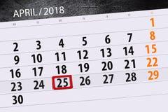 De dagelijkse bedrijfskalenderpagina 2018 April 25 Royalty-vrije Stock Foto's