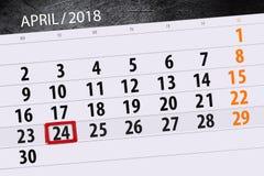 De dagelijkse bedrijfskalenderpagina 2018 April 24 Stock Afbeeldingen