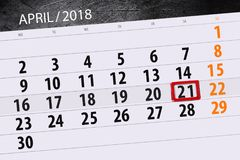 De dagelijkse bedrijfskalenderpagina 2018 April 21 Royalty-vrije Stock Afbeelding