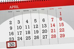 De dagelijkse bedrijfskalenderpagina 2018 April 30 Stock Foto's