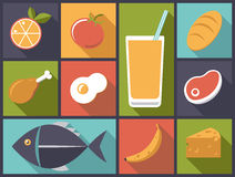 De dagelijkse vectorillustratie van Voedselpictogrammen Royalty-vrije Stock Foto