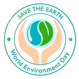 De Dagembleem of affiche van het wereldmilieu met aarde en handen Royalty-vrije Stock Foto's