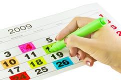 De dagen van de kalender stock afbeelding