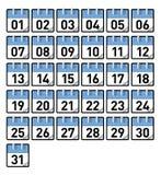 De dagen van de kalender Stock Afbeeldingen