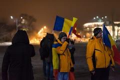 De 14 dagen van protesten tegen de overheid in Roemenië Royalty-vrije Stock Foto's