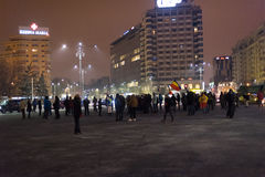 De 14 dagen van protesten tegen de overheid in Roemenië Stock Afbeeldingen