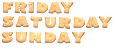 De dagen van week worden gemaakt van koekjes Stock Afbeelding