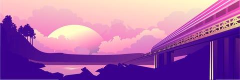 De dageraad van de treinreis royalty-vrije illustratie