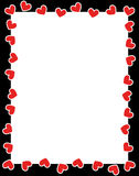 De daggrens van de rode hartenvalentijnskaart Stock Afbeeldingen