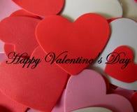 De Daggroeten van gelukkig Valentine met Harten royalty-vrije stock foto