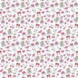 De Daghand die van Valentine ` s Naadloos Patroon trekken Stock Fotografie