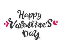 De Daghand het getrokken borstel van gelukkig Valentine geïsoleerd van letters voorzien, wit zwart rood Voor vakantie Vector illu royalty-vrije illustratie