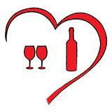De daghart van Valentine ` s met wijn Stock Foto's