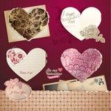 De dagharten en elementen van valentijnskaarten Stock Foto's