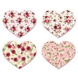De dagharten van Valentine met rozenpatronen Vector eps-10 Stock Afbeeldingen