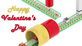 De de dagharten worden van Valentine ingepakt in giftdozen op transportband De stijl van de Catroonanimatie stock videobeelden