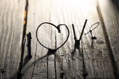 de dagidee van Valentine van het liefdewoord, Uitnodigingskaart Stock Foto