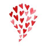 De dagillustratie van waterverfhand getrokken artistieke Valentine vector illustratie