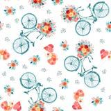 De dagillustratie van waterverfvalentijnskaarten met harten en fiets royalty-vrije illustratie