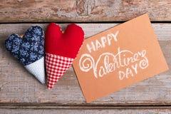 De Dagkaart en harten van Valentine ` s Stock Foto